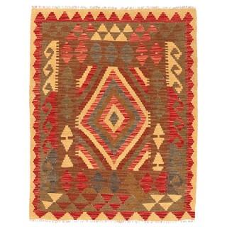 Herat Oriental Afghan Hand-woven Wool Mimana Kilim (3' x 3'10)