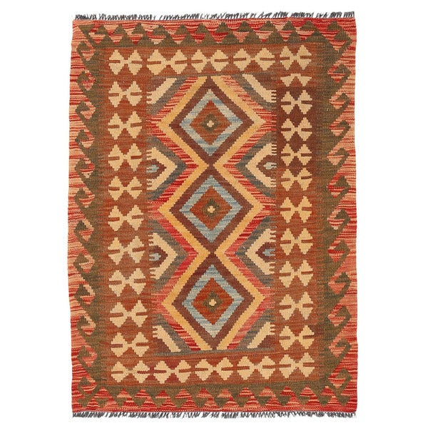 Herat Oriental Afghan Hand-woven Wool Mimana Kilim (2'10 x 3'11)