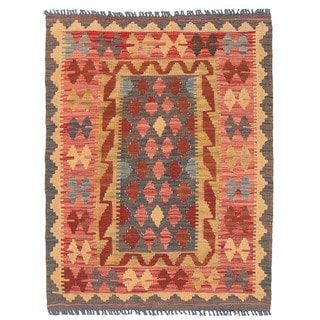 Herat Oriental Afghan Hand-woven Mimana Kilim Gray/ Red Wool Rug (2'11 x 3'10)