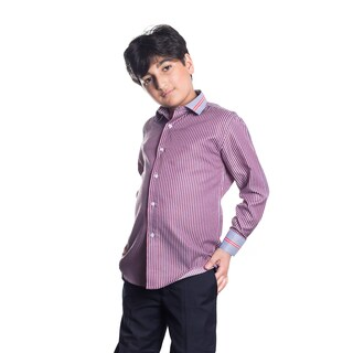 Elie Balleh Milano Italy Boys' Red Stripe Slim Fit Shirt