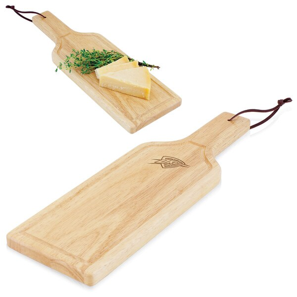 Picnic Time Oklahoma City Thunder Wood 4.75-inch x 15.375-inch Botella Cheese Board