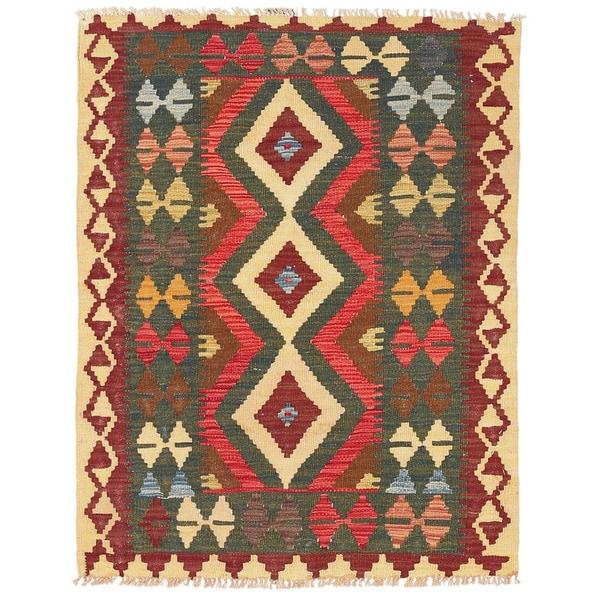 Herat Oriental Afghan Hand-woven Wool Mimana Kilim - 2'11 x 3'10