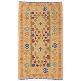 Herat Oriental Afghan Hand-woven Wool Mimana Kilim (2'7 x 4'6)
