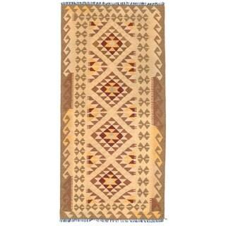 Herat Oriental Afghan Hand-woven Mimana Kilim Ivory/ Tan Wool Rug (3'3 x 6'8)