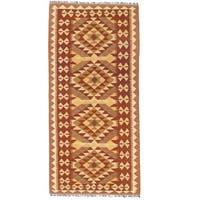 Handmade Herat Oriental Afghan Wool Mimana Kilim Runner (Afghanistan) - 3'2 x 6'9