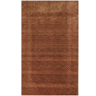 Herat Oriental Indo Hand-loomed Tribal Gabbeh Brown Wool Rug (3' x 5')
