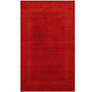 Herat Oriental Indo Hand-loomed Tribal Gabbeh Red Wool Rug (3' x 5')