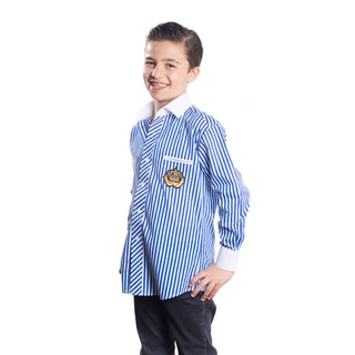 Elie Balleh Boy's Milano Italy Blue Cotton Striped Crown Slim-fit Shirt