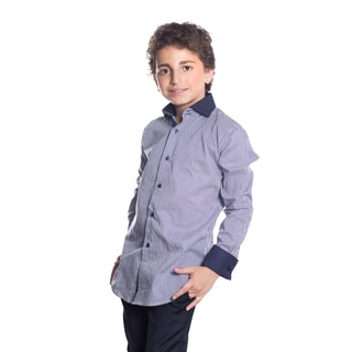 Elie Balleh Boy's Milano Italy Blue Cotton Striped Slim-fit Shirt