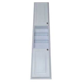 Barbados White Enamel Finished 78-inch Recessed Pantry Storage Cabinet With 24-inch Center Shelf