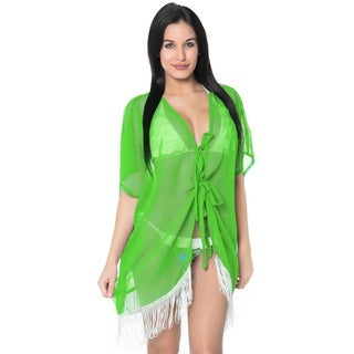 La Leela Chiffon LightWeight Kaftan Swimsuit Robe Beach Kimono Bikini Cover up Green
