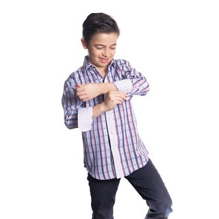 Boys' Elie Balleh Milano Italy Blue/Red Plaid Slim-fit Shirt