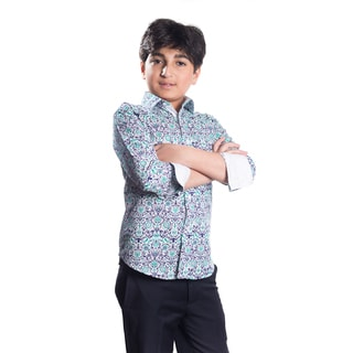 Boys' Elie Balleh Milano Italy Blue/Green Cotton Damask Slim-fit Shirt