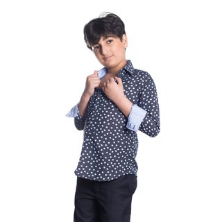 Elie Balleh Boy's Milano Italy Navy Dot Slim Fit Shirt