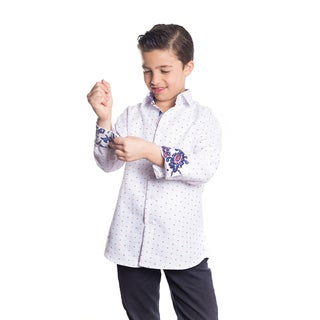Elie Balleh Milano Italy Boys' White Rayon Paisley Cuff Slim-fit Shirt