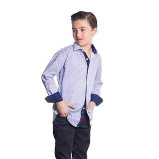 Elie Balleh Boys' Milano Italy Blue Cotton Floral Slim-fit Shirt