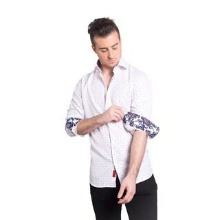 Elie Balleh Milano Italy White Paisley Cuff Slim-fit Men's Shirt