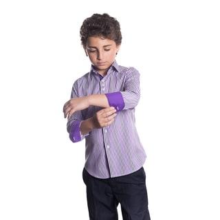 Elie Balleh Milano Italy Boys' Purple Plaid Slim-fit Shirt