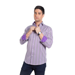 Elie Balleh Men's Milano Italy Purple Stripe Rayon and Polyester Slim Fit Shirt