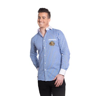 Elie Balleh Men's Milano Italy Blue Stripe Crown Slim-fit Shirt