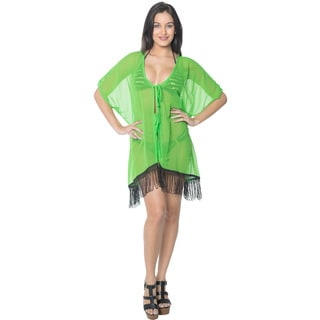La Leela Women's Green with Black Fringe Lightweight Chiffon Kimono Beach Cover-up