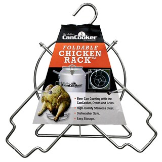 CanCooker Silver Stainless Steel Foldable Chicken Rack