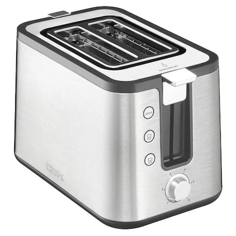KRUPS KH442D Control Line Toaster + Integrated Bun Warmer and Brushed Stainless Steel Housing, 2-Slice, Silver