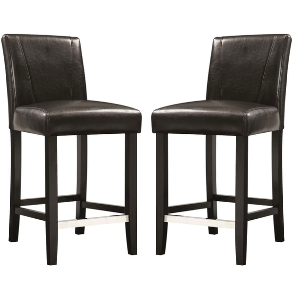 Ramiro Black Upholstered Counter Height Stools (Set of 2) - Free ...