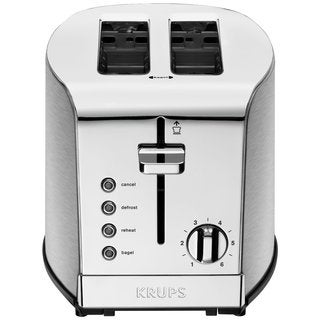 Krups KH732D50 Brushed and Chrome Stainless Steel Housing 2-slice Breakfast Set Toaster