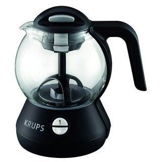 Krups FL702850 Black 1-liter Integrated Infusion Basket Personal Glass Tea Kettle