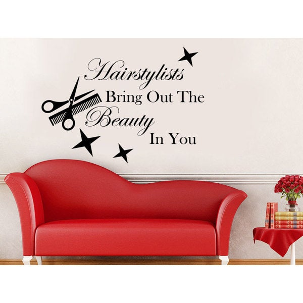 Shop Hairstylists Bring Out The Beauty In You Wall Decal Quote ...