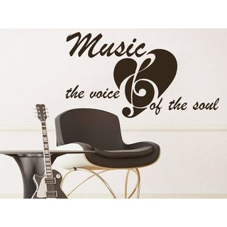 Quote Music the voice of the soul Wall Art Sticker Decal Brown