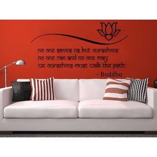 Quote Lotus Flower Buddha No one saves us but ourselves Wall Art Sticker Decal