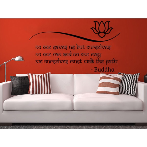 Shop quote lotus flower buddha no one saves us but ourselves wall quote lotus flower buddha no one saves us but ourselves wall art sticker decal mightylinksfo