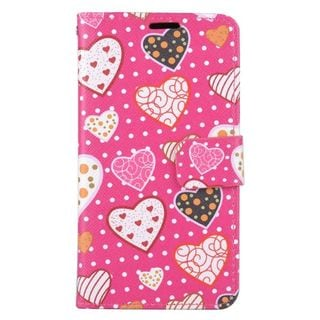 Insten Colorful Hearts Leather Case Cover with Stand/ Wallet Flap Pouch/ Photo Display For LG K7