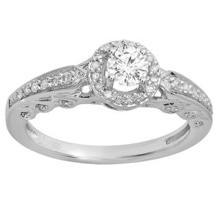 14k Gold 1/2ct TDW Round White Diamond Halo Style Bridal Engagement Ring (I-J, I1-I2)