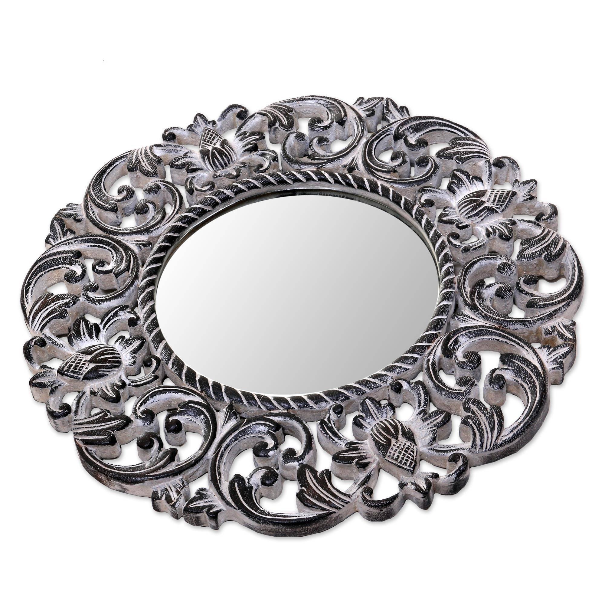 NOVICA 262494 Black Balsamina Buds Wood Wall Mirror