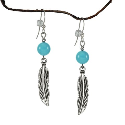 Handmade Jewelry by Dawn Crystal Blue Turquoise With Curved Pewter Feather Earrings (USA)