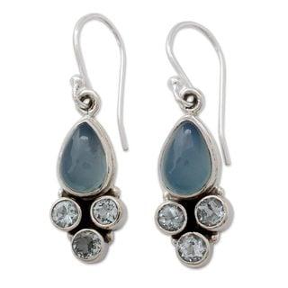 Sterling Silver 'Dream Meadow' Chalcedony Topaz Earrings (India)
