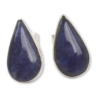 Handcrafted Sterling Silver 'Ocean Rain' Sodalite Earrings (Peru)