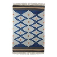 Handcrafted Wool 'Blue Light' Dhurrie Rug 4x6 - 4' x 6'