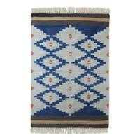 Handcrafted Wool 'Blue Light' Dhurrie Rug - 4' x 6'