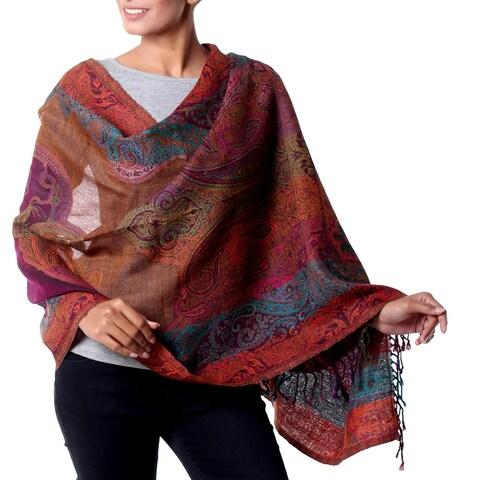 Handmade Wool 'Modern Paisley Party' Jamawar Shawl (India)