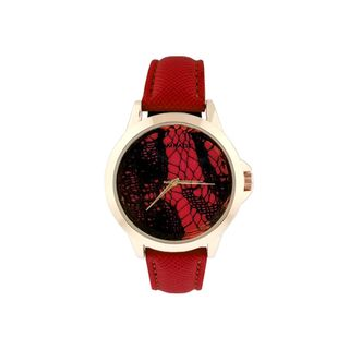 Rampage Women's Red Strap Stainless Steel Watch