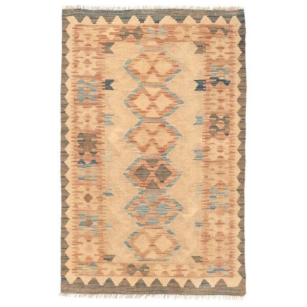 Herat Oriental Afghan Hand-woven Wool Mimana Kilim Rug (2'8 x 4'2)