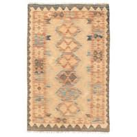 Handmade Herat Oriental Afghan Wool Mimana Kilim Rug - 2'8 x 4'2 (Afghanistan)