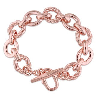 Miadora Rose Gold Plated Italian Sterling Silver Link Bracelet