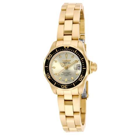 Invicta Women's 17038 Pro Diver Quartz 3 Hand Champagne Dial Watch