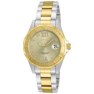 Invicta Women's 17021 Pro Diver Quartz 3 Hand Champagne Dial Watch