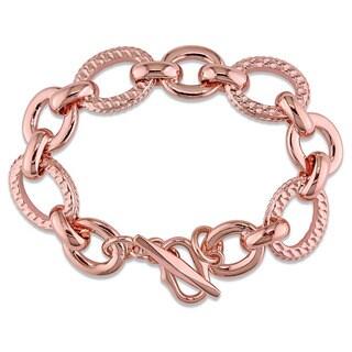 Miadora Rose Gold Plated Italian Sterling Silver Link Bracelet